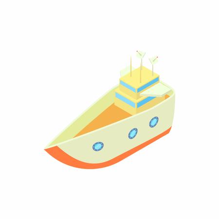 sea transport: Big ship icon in cartoon style isolated on white background. Sea transport symbol Illustration