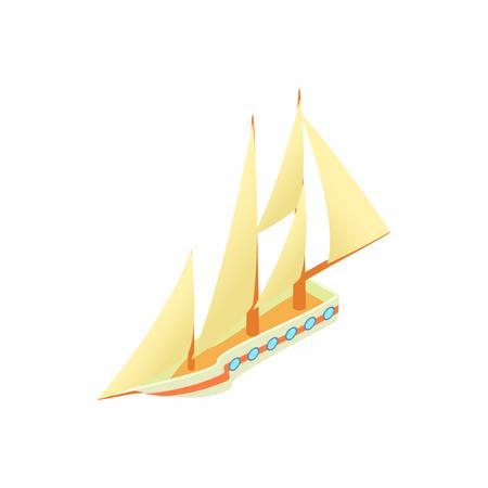 sailing yacht: Sailing yacht icon in cartoon style isolated on white background. Sea transport symbol Illustration