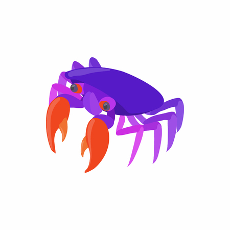 crustaceans: Purple crab icon in cartoon style isolated on white background. Crustaceans symbol Illustration
