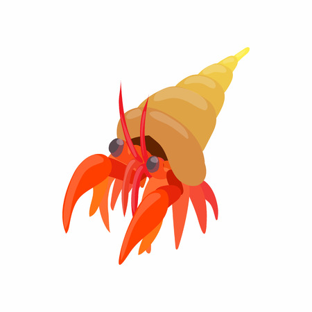 crustaceans: Cancer hermit icon in cartoon style isolated on white background. Crustaceans symbol