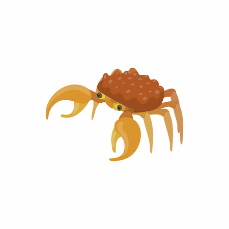 Brown crab icon in cartoon style isolated on white background. Crustaceans symbol