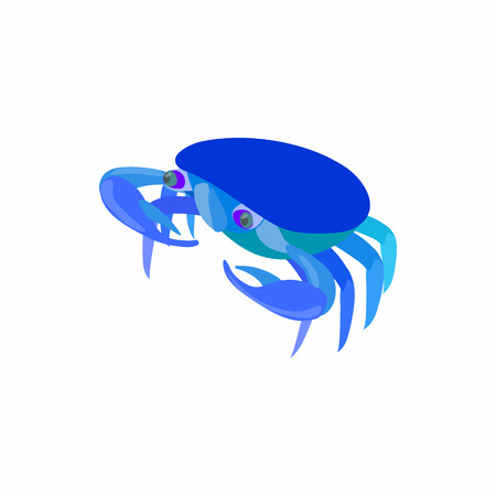 blue crab: Blue crab icon in cartoon style isolated on white background. Crustaceans symbol Illustration