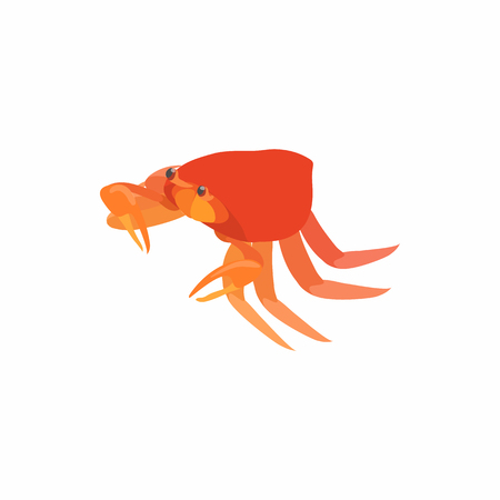 Crab with small claws icon in cartoon style isolated on white background. Crustaceans symbol Illustration