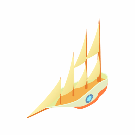 sea transport: Big yacht icon in cartoon style isolated on white background. Sea transport symbol