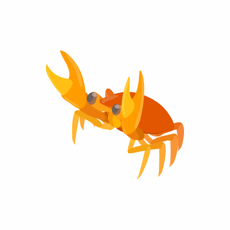 crustaceans: Crab icon in cartoon style isolated on white background. Crustaceans symbol Illustration