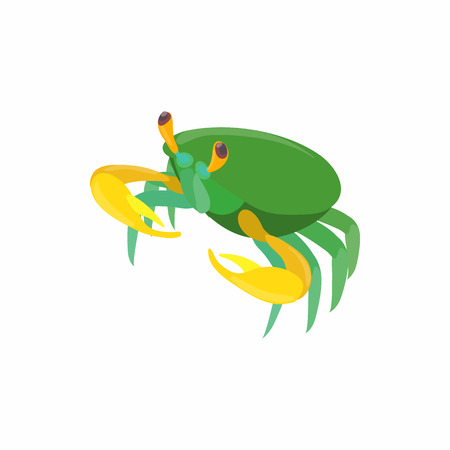 green crab: Green crab icon in cartoon style isolated on white background. Crustaceans symbol Illustration