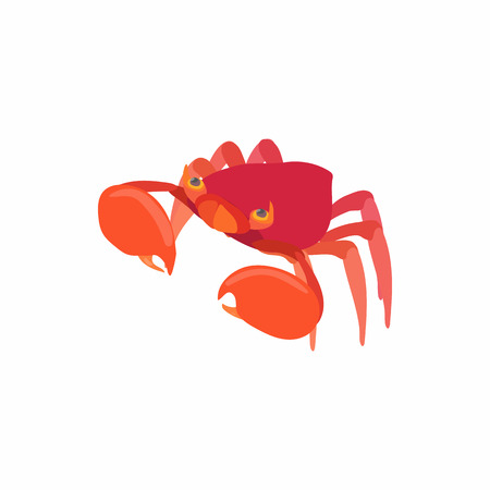 crustaceans: Sea crab icon in cartoon style isolated on white background. Crustaceans symbol