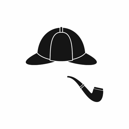 headgear: Hat and pipe icon in simple style isolated on white background. Headgear symbol