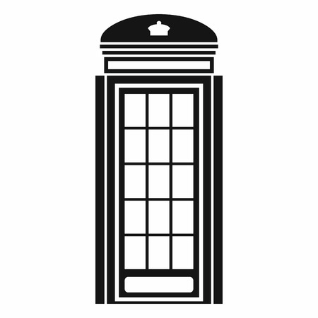 determinant: Phone booth icon in simple style isolated on white background. Call symbol