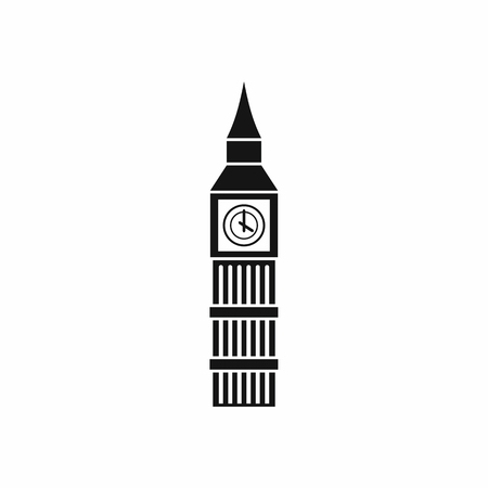 Big Ben clock icon in simple style isolated on white background. Attractions symbol Ilustração