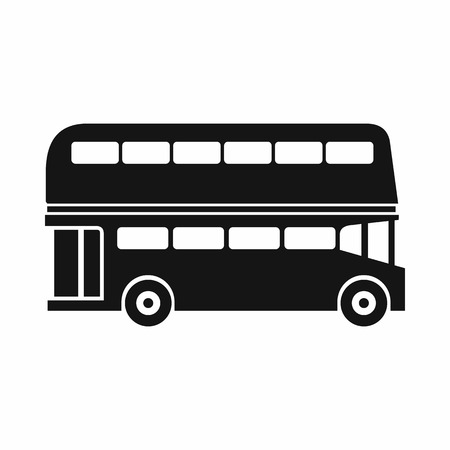 double decker bus: Double decker bus icon in simple style isolated on white background. Transport symbol