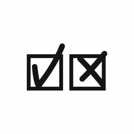 accept icon: Checkmark to accept and refusal icon in simple style isolated on white background. Click and choice symbol