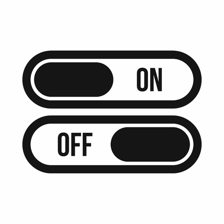 button icon: Button on and off icon in simple style isolated on white background. Click and choice symbol