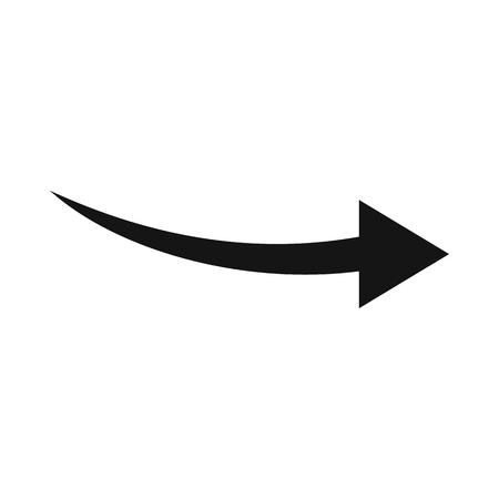흰색 배경에 고립 된 간단한 스타일의 곡선 화살표 아이콘. 클릭 및 선택 기호 일러스트