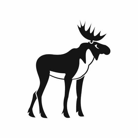horny: Moose icon in simple style isolated on white background. Animal symbol Illustration