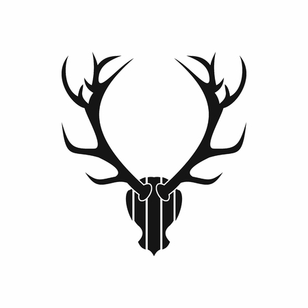 horny: Deer antler icon in simple style isolated on white background. Trophy symbol