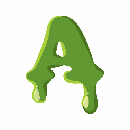 slime: Letter A from latin alphabet with numbers and symbols made of green slime. Font can be used for Halloween design and other purposes