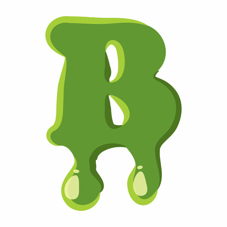 Letter B from latin alphabet with numbers and symbols made of green slime. Font can be used for Halloween design and other purposes