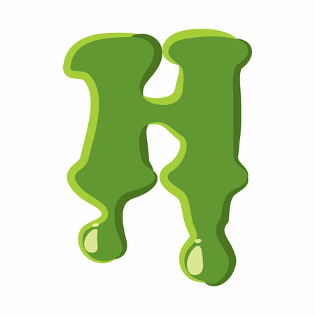 slime: Letter H from latin alphabet with numbers and symbols made of green slime. Font can be used for Halloween design and other purposes