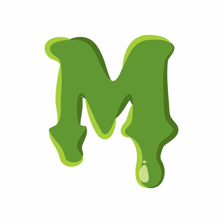 types of cactus: Letter M from latin alphabet with numbers and symbols made of green slime. Font can be used for Halloween design and other purposes Illustration