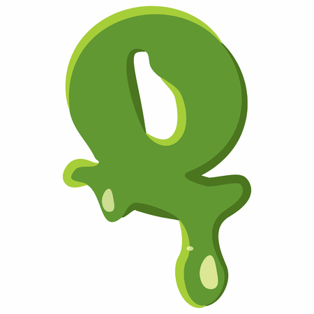 Letter Q from latin alphabet with numbers and symbols made of green slime. Font can be used for Halloween design and other purposes