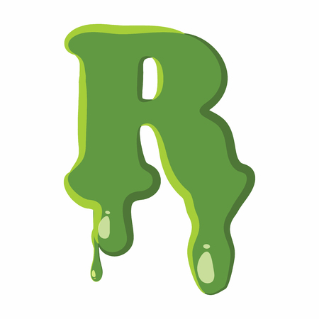 slime: Letter R from latin alphabet with numbers and symbols made of green slime. Font can be used for Halloween design and other purposes