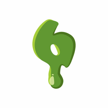Number 6 from latin alphabet with numbers and symbols made of green slime. Font can be used for Halloween design and other purposes Illustration