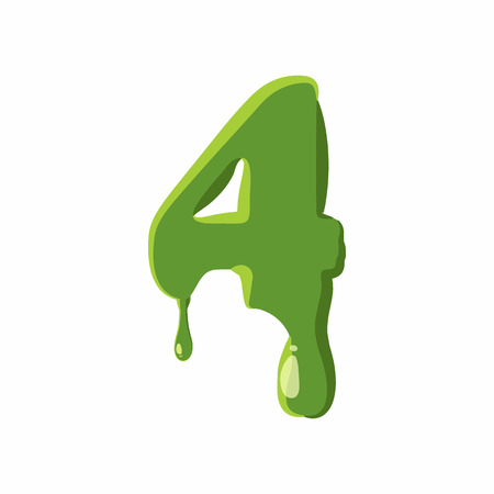 Number 4 from latin alphabet with numbers and symbols made of green slime. Font can be used for Halloween design and other purposes Illustration