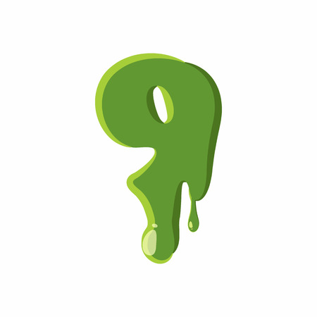 slime: Number 9 from latin alphabet with numbers and symbols made of green slime. Font can be used for Halloween design and other purposes
