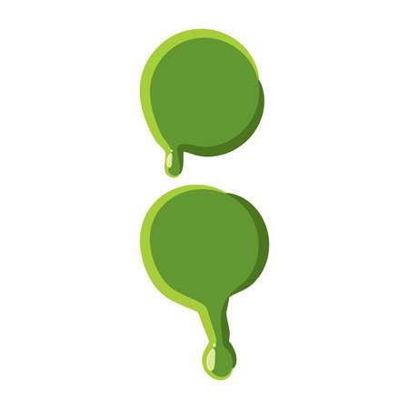 punctuation mark: Punctuation mark colon from latin alphabet with numbers and symbols made of green slime. Font can be used for Halloween design and other purposes
