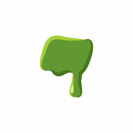 punctuation mark: Punctuation mark dash from latin alphabet with numbers and symbols made of green slime. Font can be used for Halloween design and other purposes