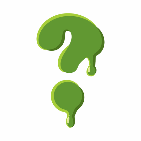 Question mark from latin alphabet with numbers and symbols made of green slime. Font can be used for Halloween design and other purposes Illustration
