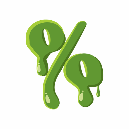 slime: Percent sign from latin alphabet with numbers and symbols made of green slime. Font can be used for Halloween design and other purposes
