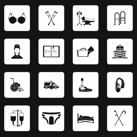 accessibility: Accessibility icons set in simple style. Disabled people care help assistance set collection vector illustration Illustration