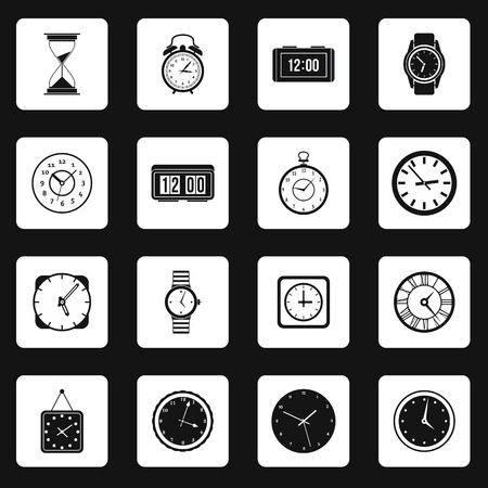 chronograph: Clock icons set in simple style. Time set collection vector illustration