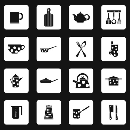 utensil: Kitchen utensil icons set in simple style. Kitchen and household utensil set collection vector illustration