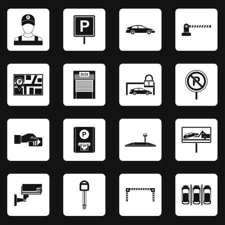 drive ticket: Parking icons set in simple style. Parking elements set collection vector illustration Illustration
