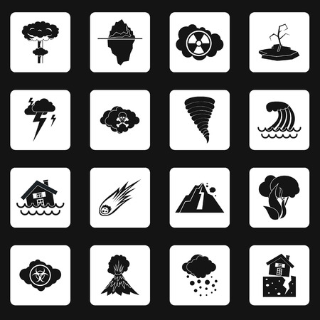 catastrophe: Natural disaster icons set in simple style. Catastrophes and crisis set collection vector illustration Illustration