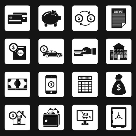 financial service: Banking icons set in simple style. Financial service set collection vector illustration Illustration
