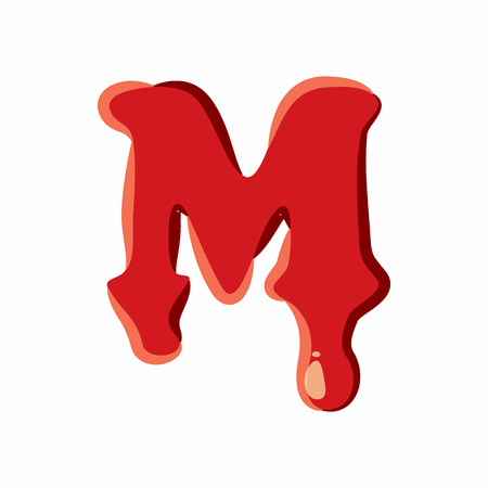 M letter isolated on white background. Red bloody M letter vector illustration