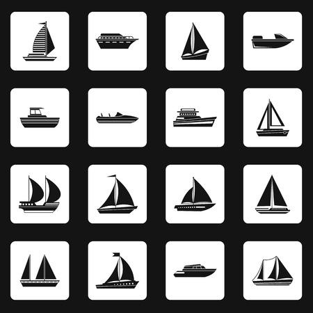 Vela de barco iconos fijados de forma sencilla. Nave y barco de recogida conjunto de vector