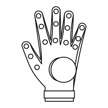 engrossed: Electronic glove icon in outline style isolated on white background Illustration