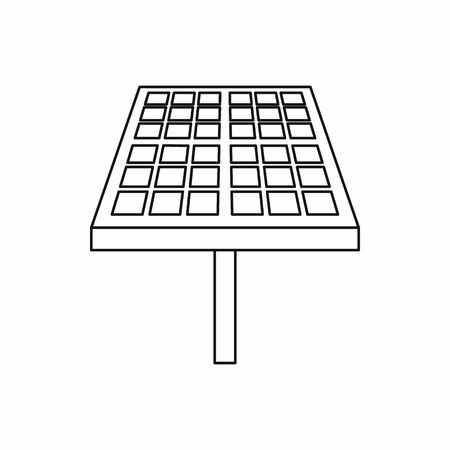 power supply unit: Solar energy panel icon in outline style isolated on white background