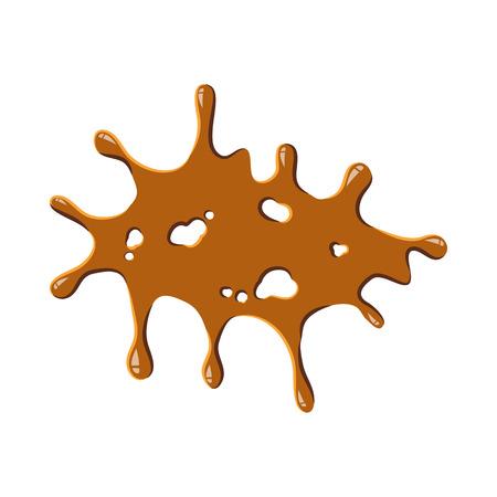 burned: Big caramel stain icon isolated on white background. Sweetness symbol