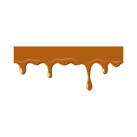 Dripping down caramel icon isolated on white background. Sweetness symbol