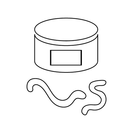 earthworm: Can of earthworm icon in outline style isolated on white background
