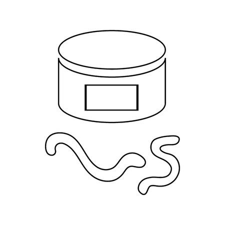 lombriz de tierra: Pueda del icono de la lombriz de tierra en estilo de contorno aislado en el fondo blanco Vectores