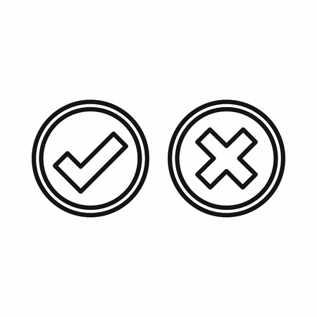 answers: Tick and cross circle shape icon in outline style on a white background