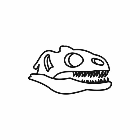 large skull: Dinosaur skull icon in outline style on a white background