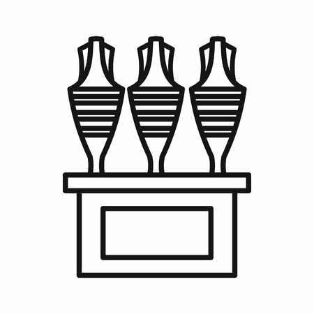 earthenware: Egyptian vases icon in outline style on a white background
